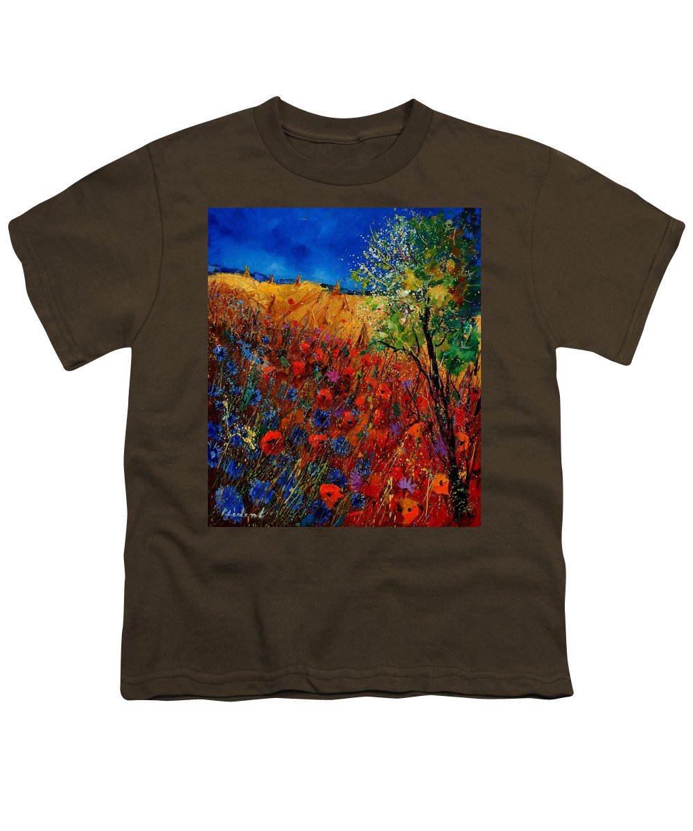 Flowers Youth T-Shirt featuring the painting Summer Landscape With Poppies by Pol Ledent
