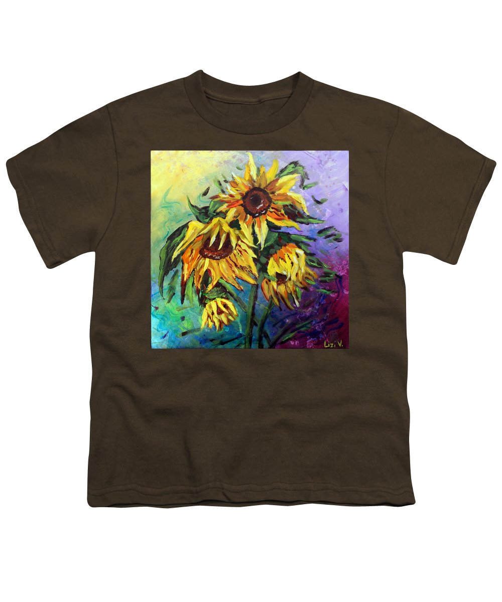 Art Youth T-Shirt featuring the painting Sunflowers In The Rain by Luiza Vizoli