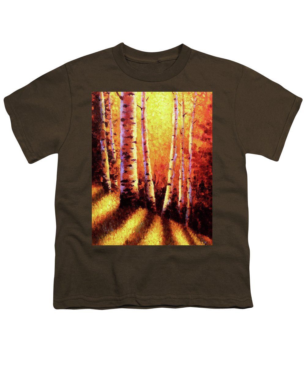 Sunlight Youth T-Shirt featuring the painting Sunlight Through The Aspens by David G Paul
