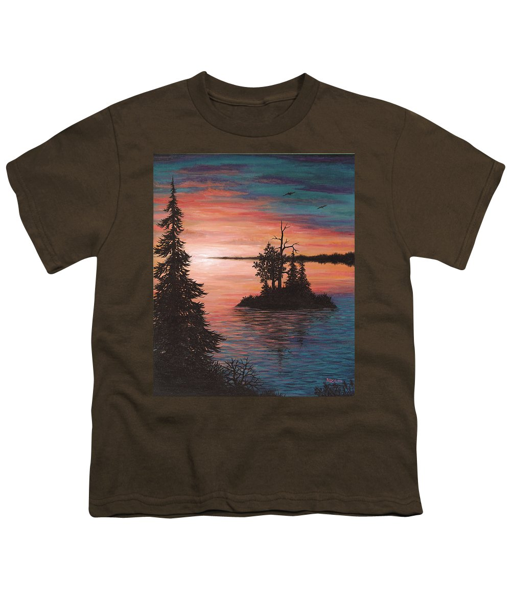 Sunset Youth T-Shirt featuring the painting Sunset Island by Roz Eve