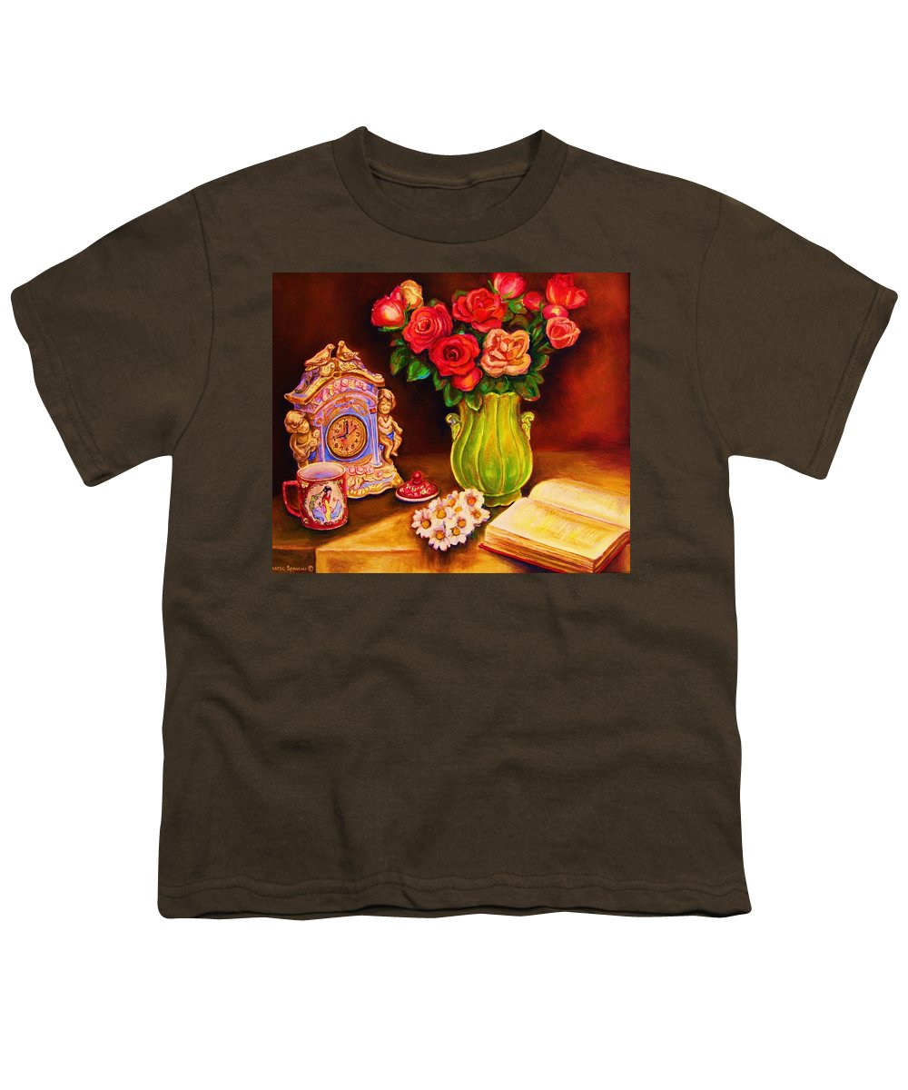 Impressionism Youth T-Shirt featuring the painting Teacup And Roses by Carole Spandau