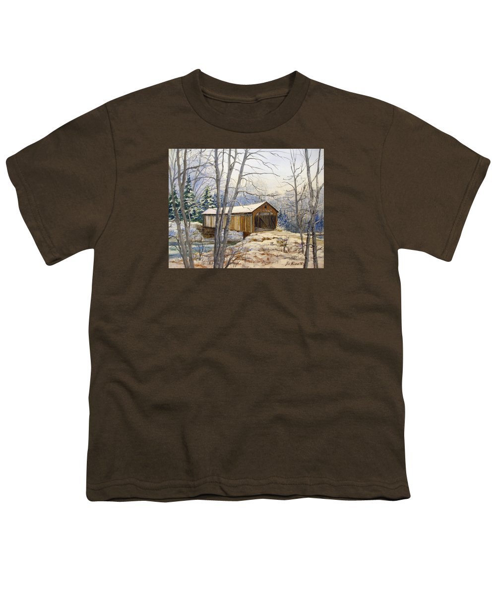 Oil Painting;bridge;covered Bridge;winter Scene;snow;landscape;winter Landscape; Youth T-Shirt featuring the painting Teegarden Covered Bridge In Winter by Lois Mountz