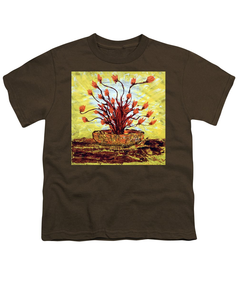 Red Bush Youth T-Shirt featuring the painting The Burning Bush by J R Seymour