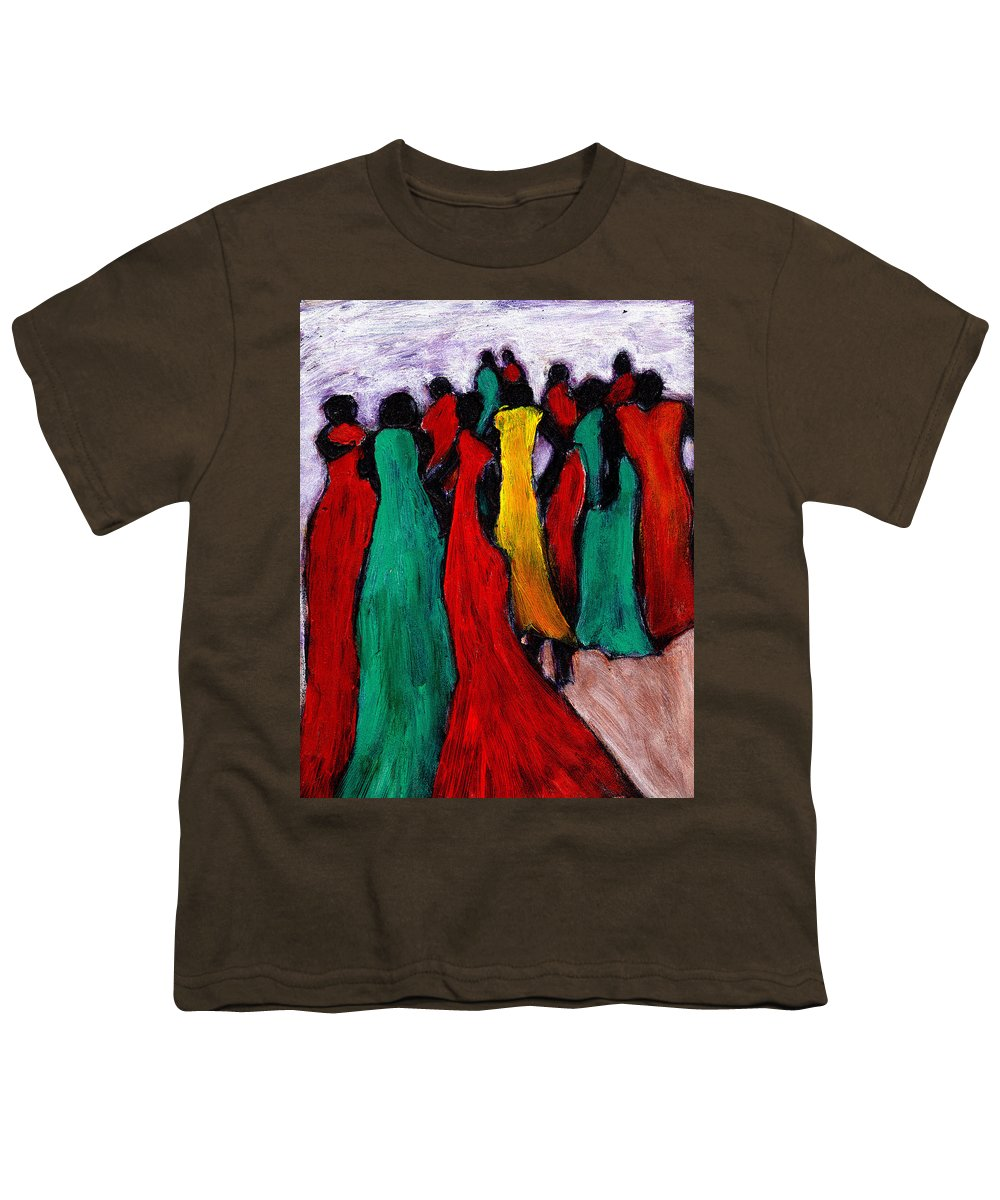 Black Art Youth T-Shirt featuring the painting The Gathering by Wayne Potrafka