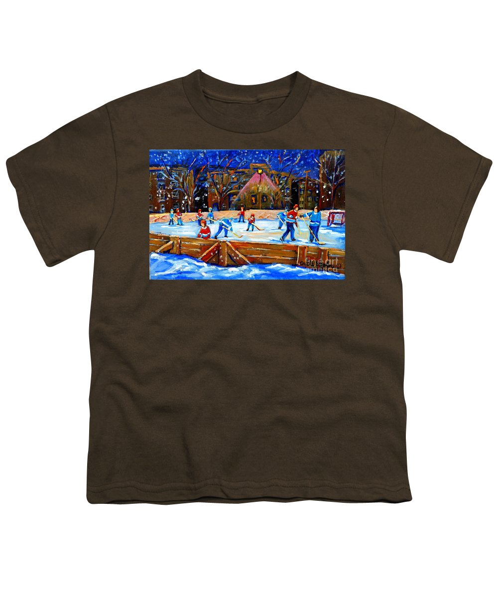 Snow Youth T-Shirt featuring the painting The Hockey Rink by Carole Spandau