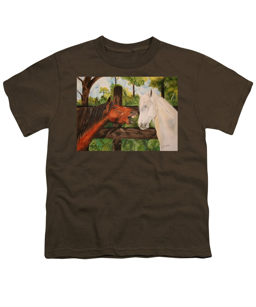 Horse Youth T-Shirt featuring the painting The Horse Whisperers by Jean Blackmer