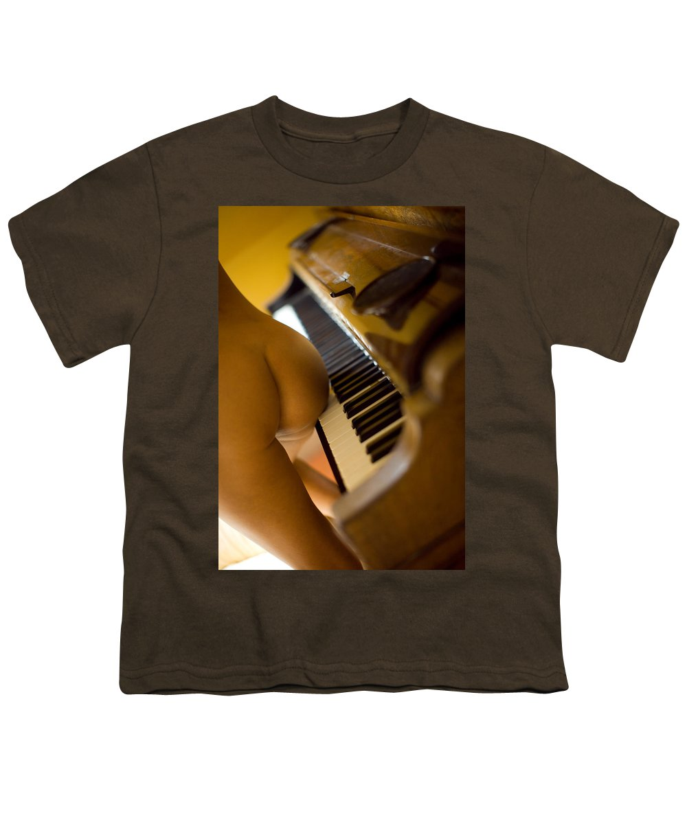 Sensual Youth T-Shirt featuring the photograph The Piano by Olivier De Rycke
