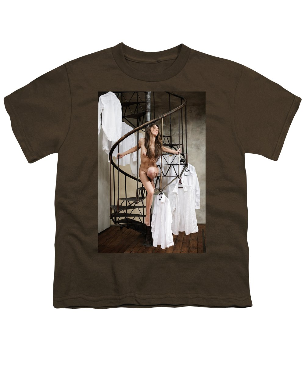 Sensual Youth T-Shirt featuring the photograph The Stairs by Olivier De Rycke
