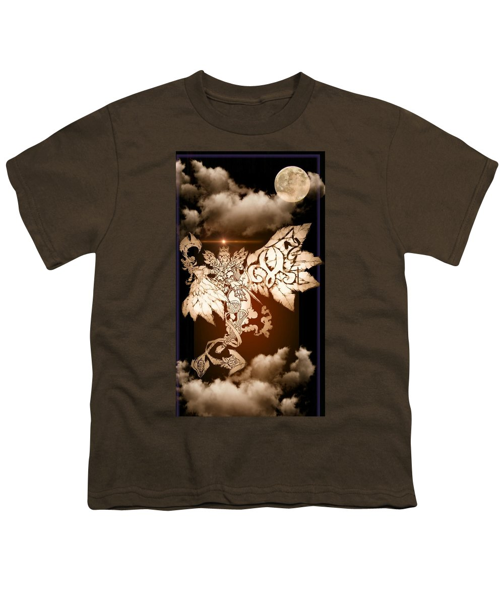 Fantasy Landscape Youth T-Shirt featuring the drawing Transcending Angel by Louis Williams