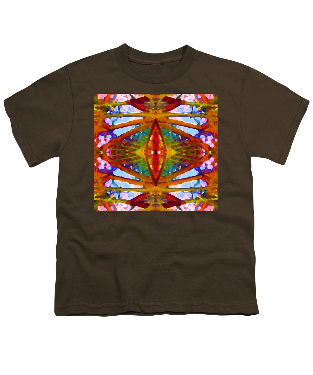 Abstract Youth T-Shirt featuring the painting Tropical Stained Glass by Amy Vangsgard