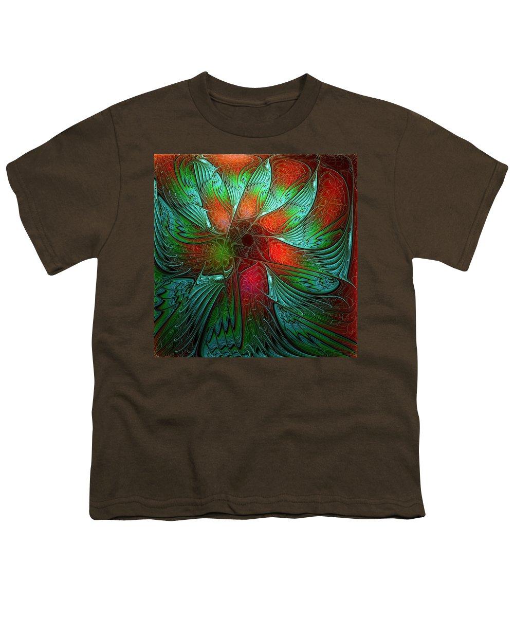 Digital Art Youth T-Shirt featuring the digital art Tropical Tones by Amanda Moore