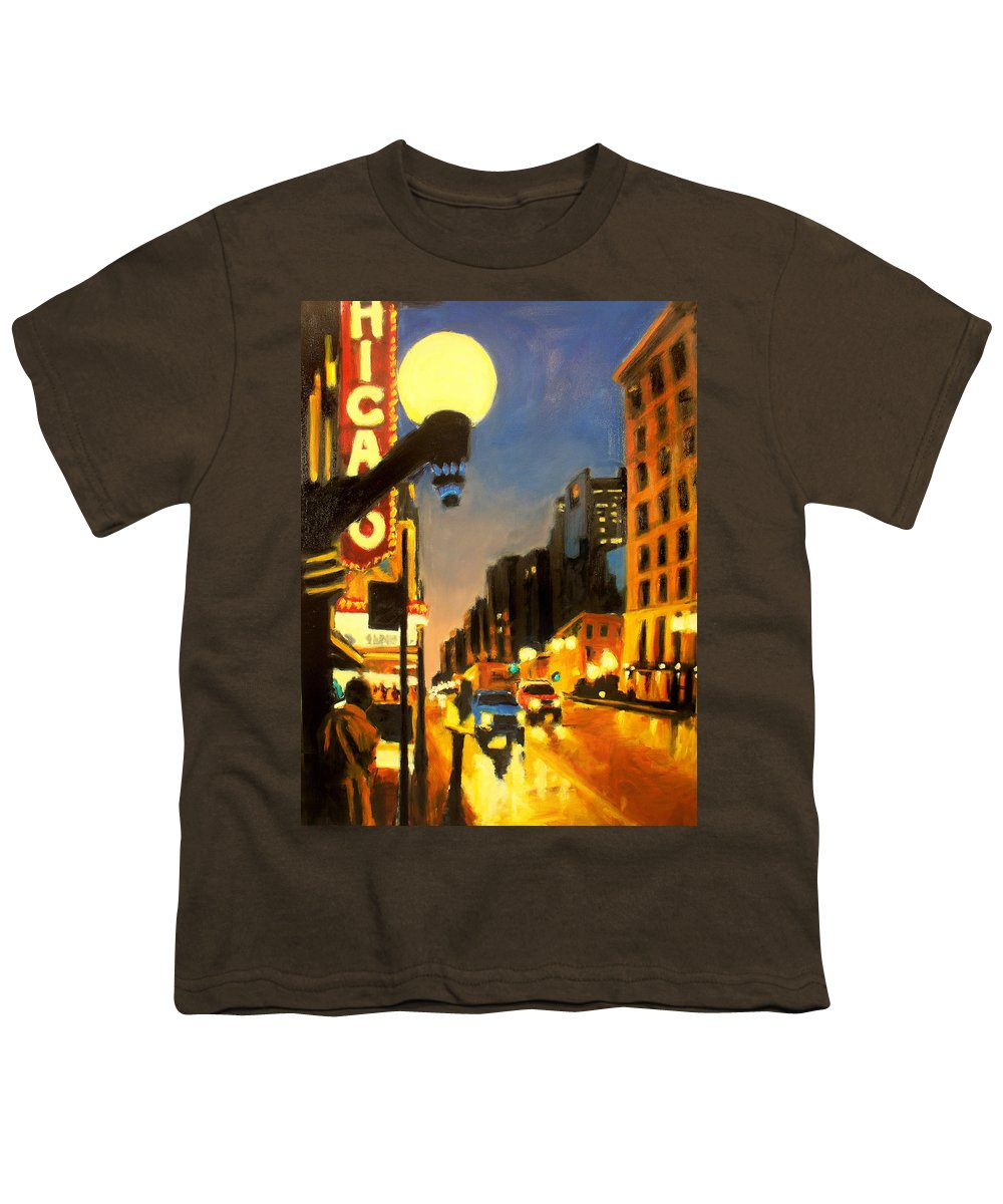 Rob Reeves Youth T-Shirt featuring the painting Twilight In Chicago - The Watcher by Robert Reeves