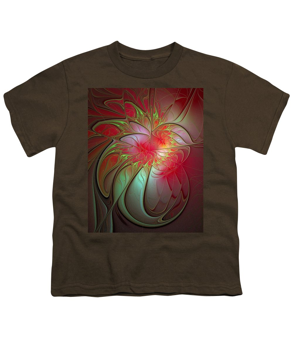 Digital Art Youth T-Shirt featuring the digital art Vase Of Flowers by Amanda Moore