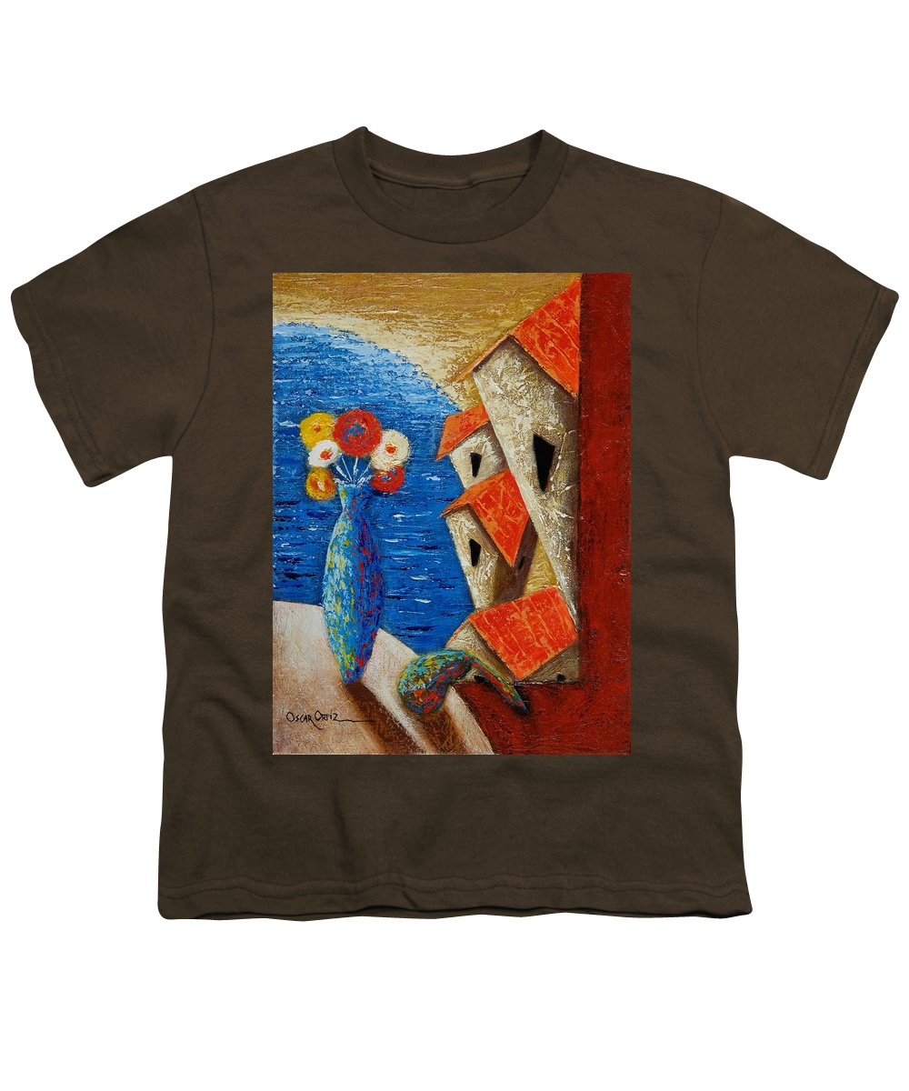 Landscape Youth T-Shirt featuring the painting Ventana Al Mar by Oscar Ortiz