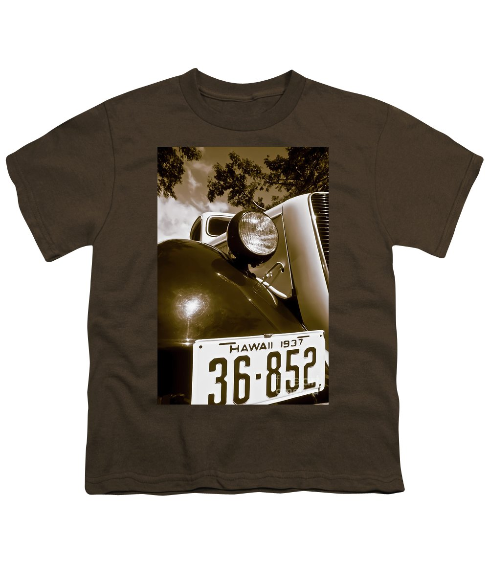 1937 Ford Youth T-Shirt featuring the photograph 1937 Ford Pickup Truck Maui Hawaii by Jim Cazel