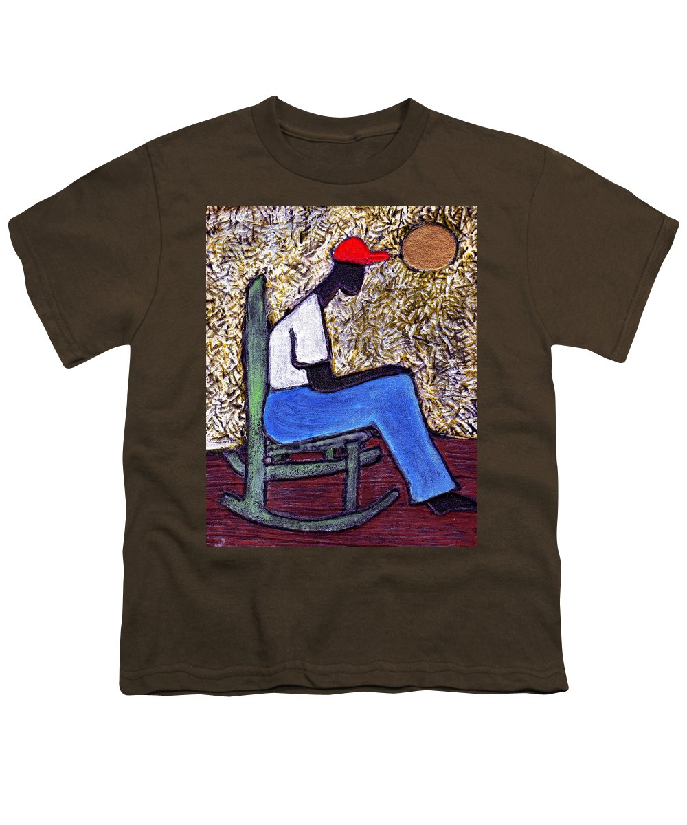 Black Art Youth T-Shirt featuring the painting Waiting For The Dream by Wayne Potrafka