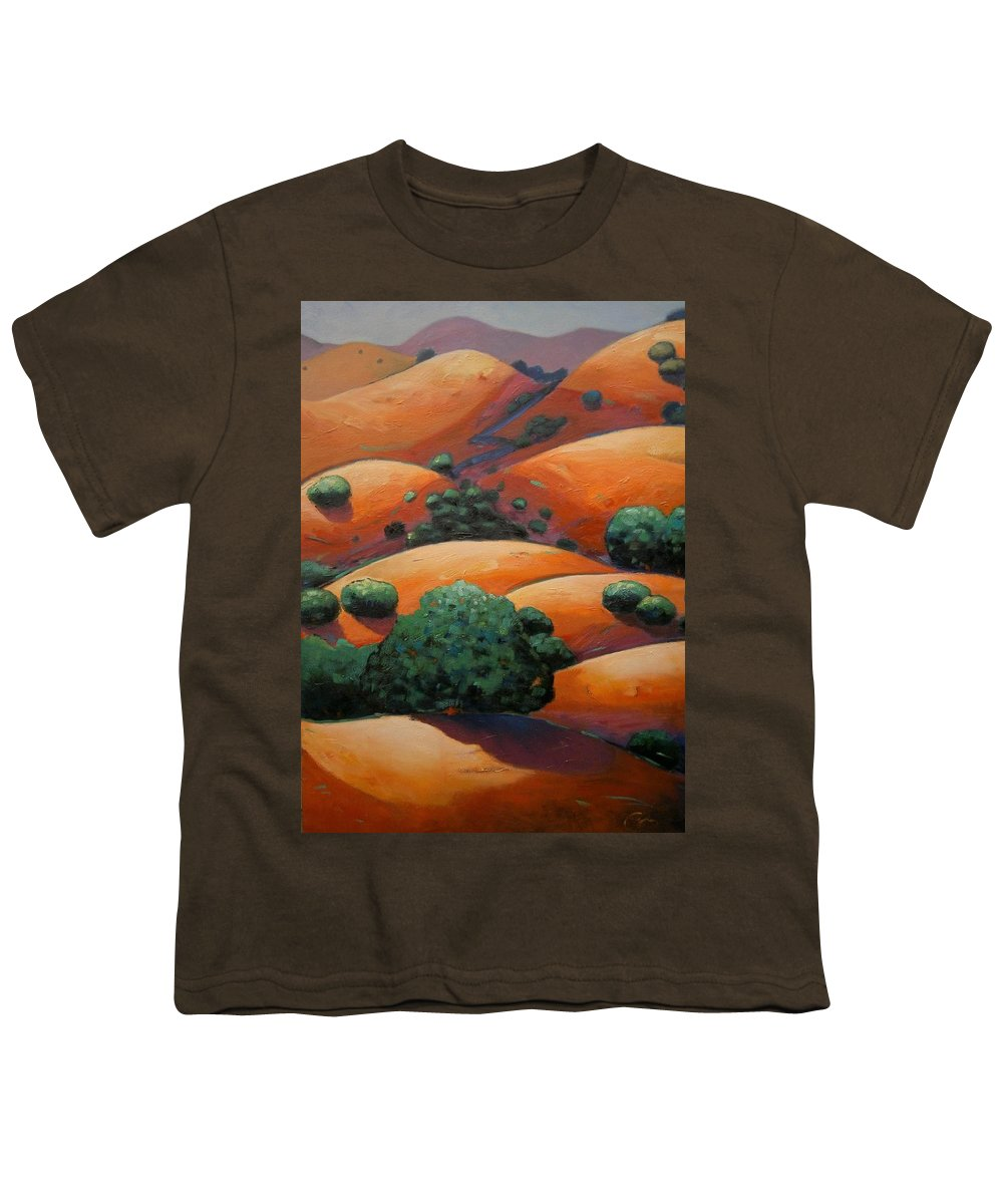 California Landscape Youth T-Shirt featuring the painting Warm Afternoon Light On Ca Hillside by Gary Coleman
