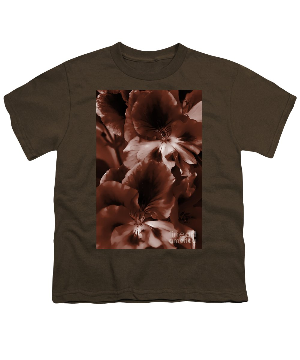 Clay Youth T-Shirt featuring the photograph Warm Tone Monochrome Floral Art by Clayton Bruster