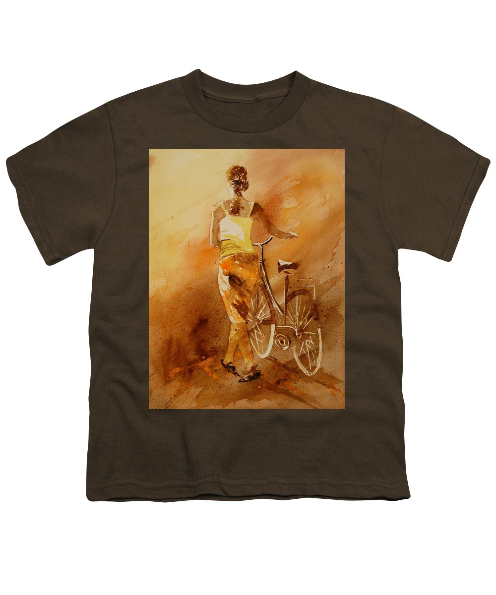 Figurative Youth T-Shirt featuring the painting Watercolor With My Bike by Pol Ledent