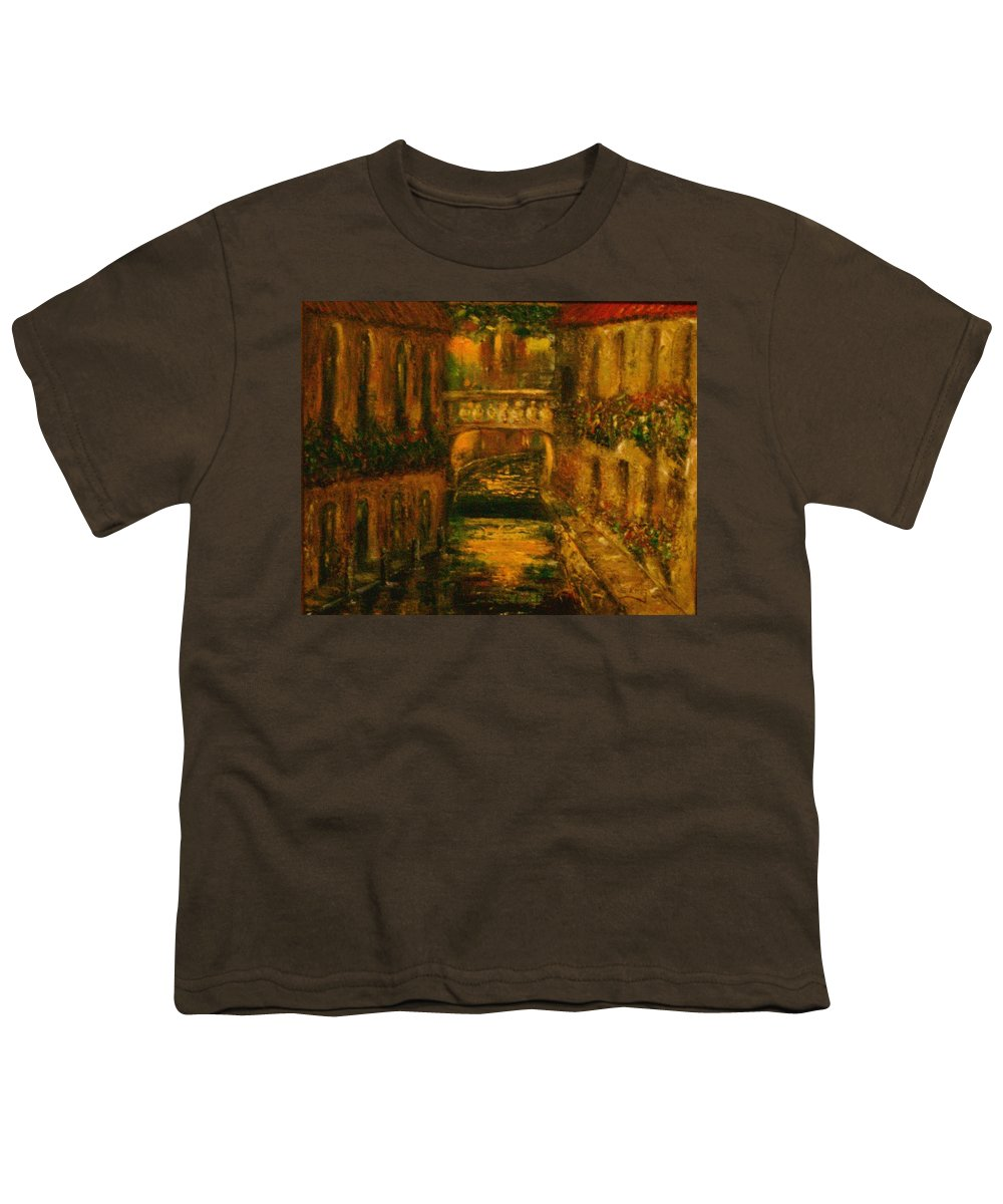 Landscape Youth T-Shirt featuring the painting Waters Of Europe by Stephen King