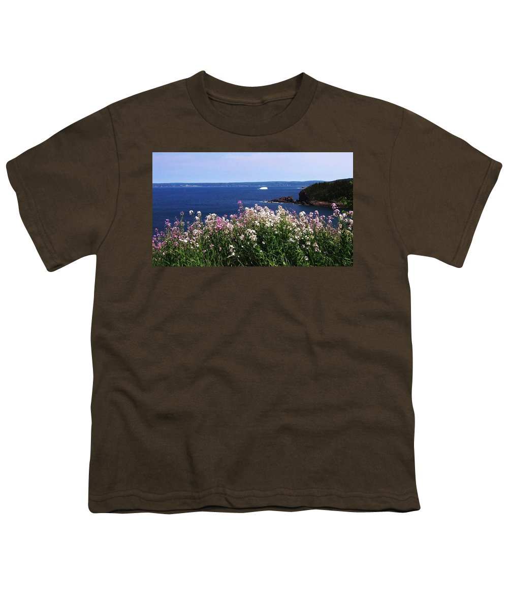 Photograph Iceberg Wild Flower Atlantic Ocean Newfoundland Youth T-Shirt featuring the photograph Wild Flowers And Iceberg by Seon-Jeong Kim