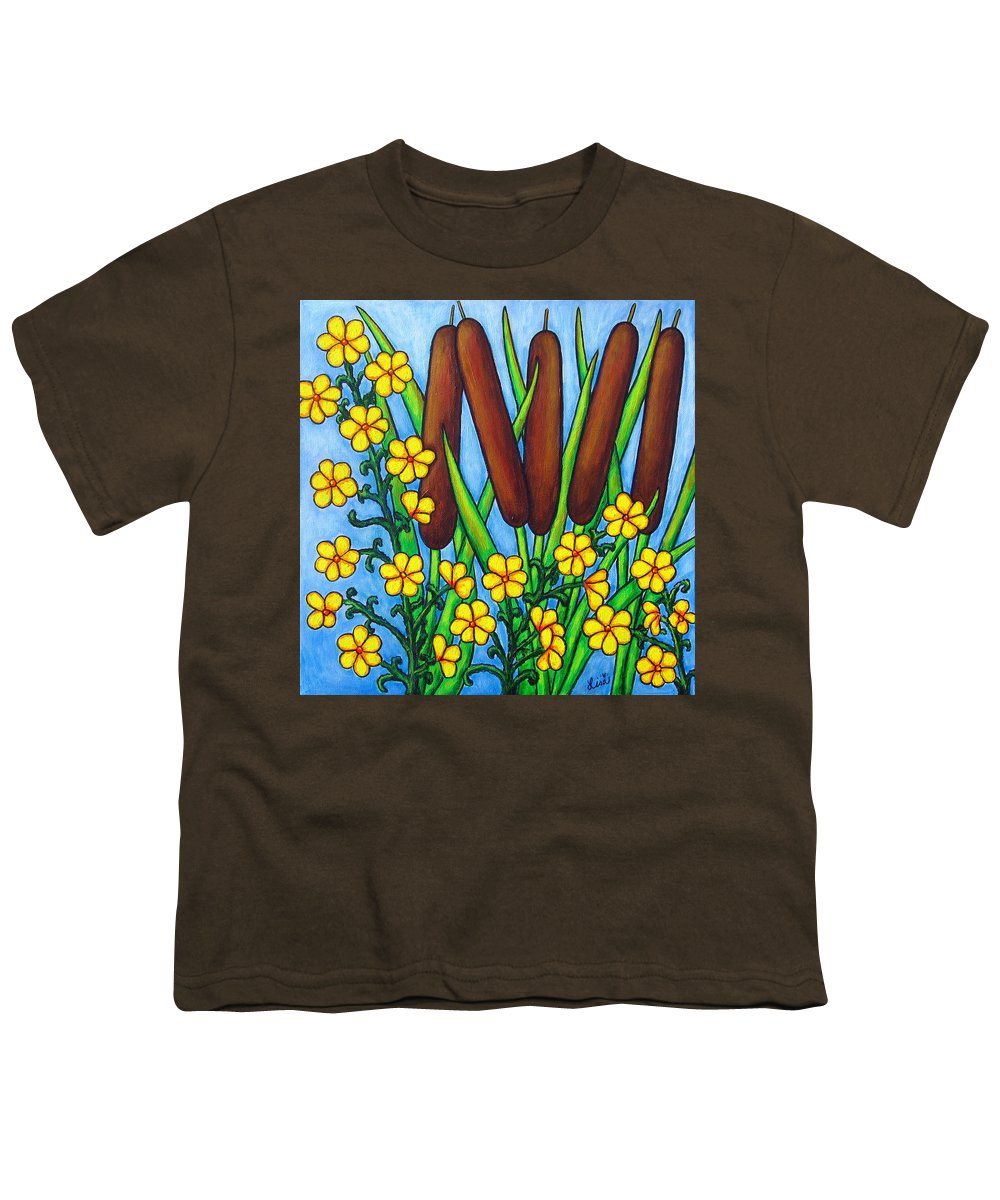 Cat Tails Youth T-Shirt featuring the painting Wild Medley by Lisa Lorenz