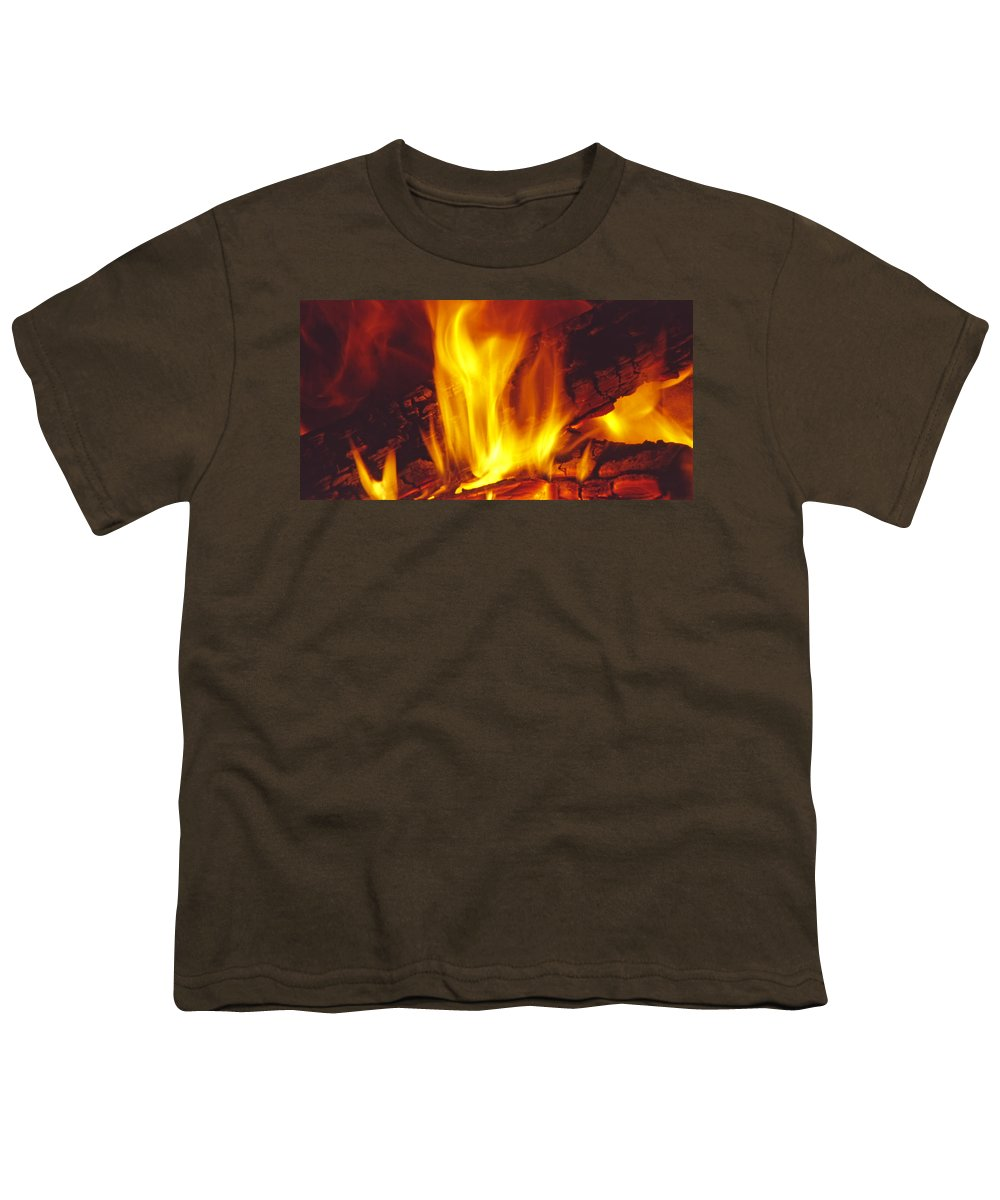 Fire Youth T-Shirt featuring the photograph Wood Stove - Blazing Log Fire by Steve Ohlsen