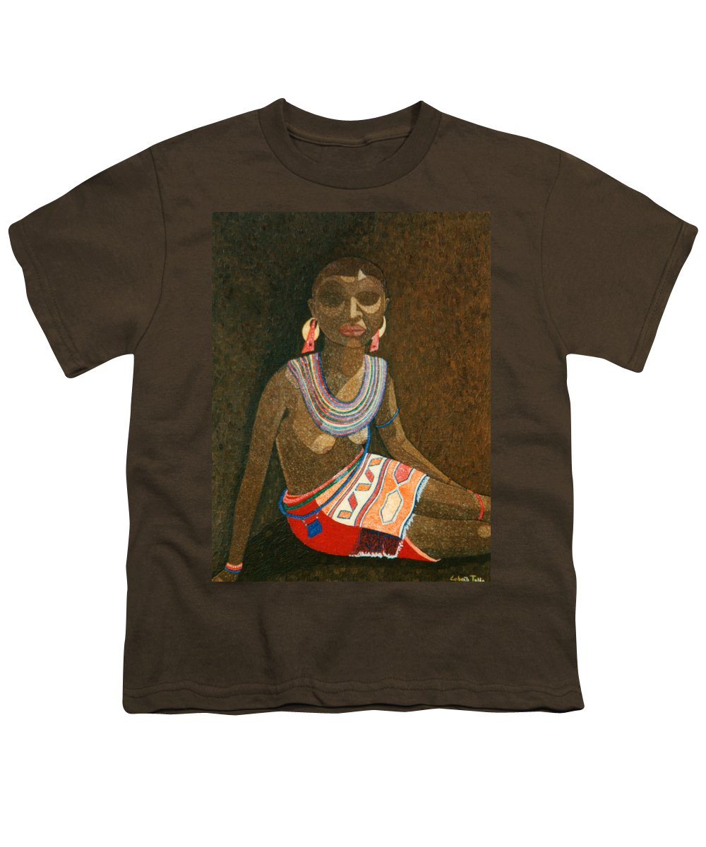 Zulu Woman Youth T-Shirt featuring the painting Zulu Woman With Beads by Madalena Lobao-Tello