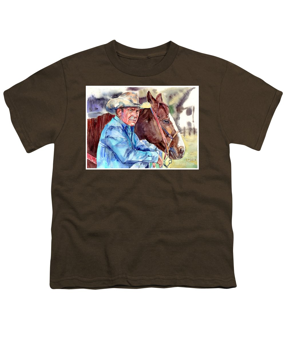 Kevin Youth T-Shirt featuring the painting Kevin Costner Portrait by Suzann Sines