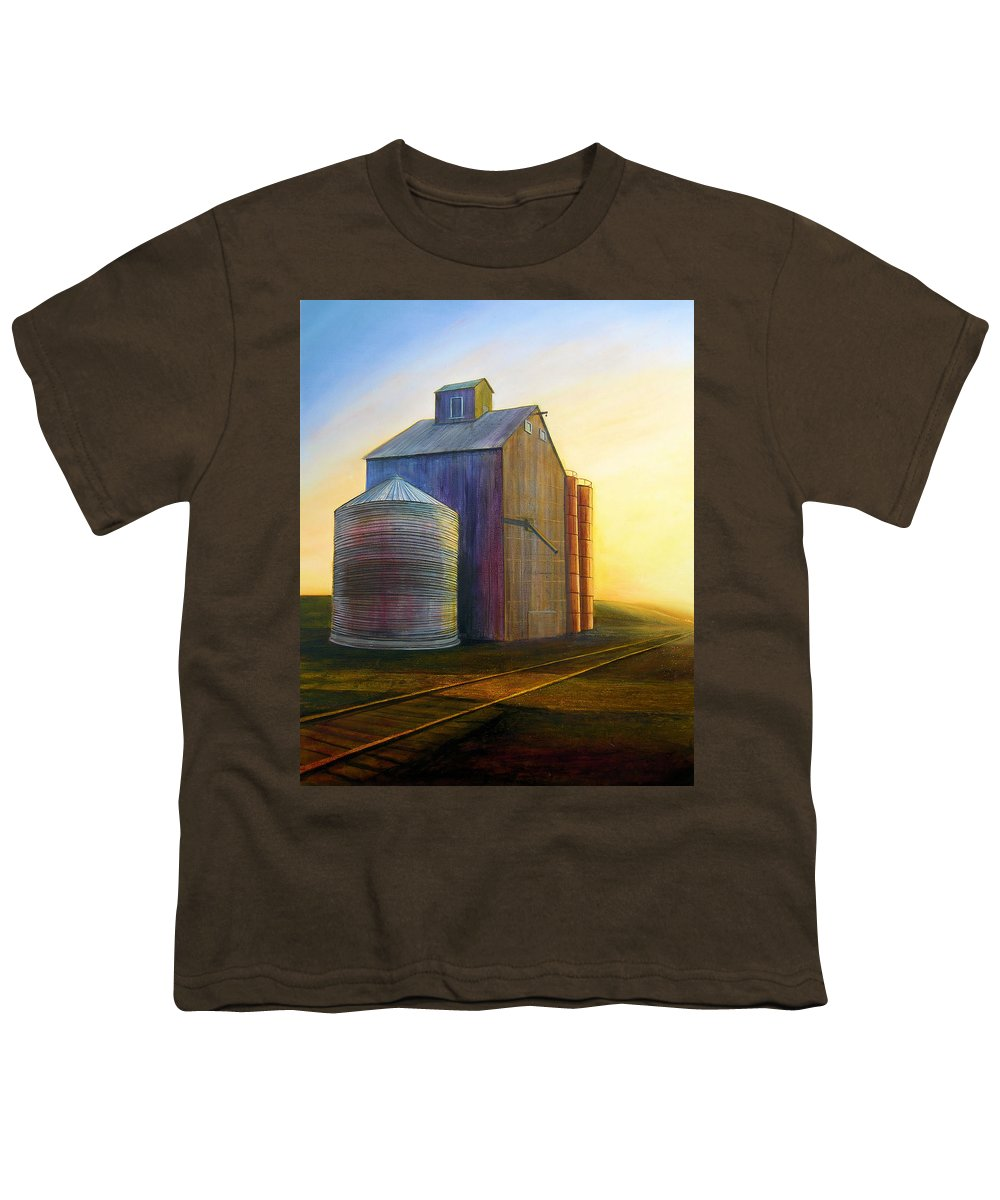 Silos Youth T-Shirt featuring the painting Estes Road Twilight by Leonard Heid