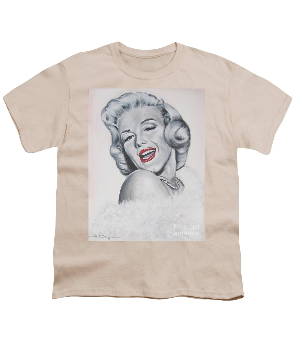 Marilyn Monroe Youth T-Shirt featuring the painting Marilyn Monroe by Eric Dee