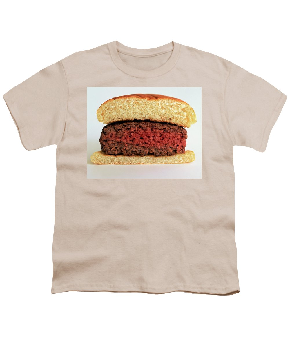 Cooking Youth T-Shirt featuring the photograph A Rare Hamburger by Romulo Yanes
