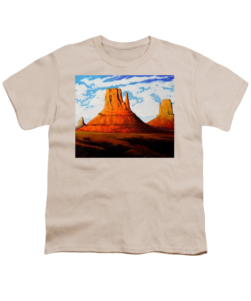 Landscape Of Western Usa Youth T-Shirt featuring the painting Ancient Land Monument Valley by Joe Triano