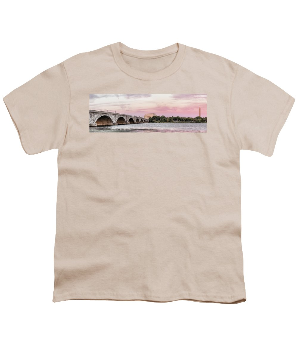 Photography Youth T-Shirt featuring the photograph Arlington Memorial Bridge With Lincoln by Panoramic Images