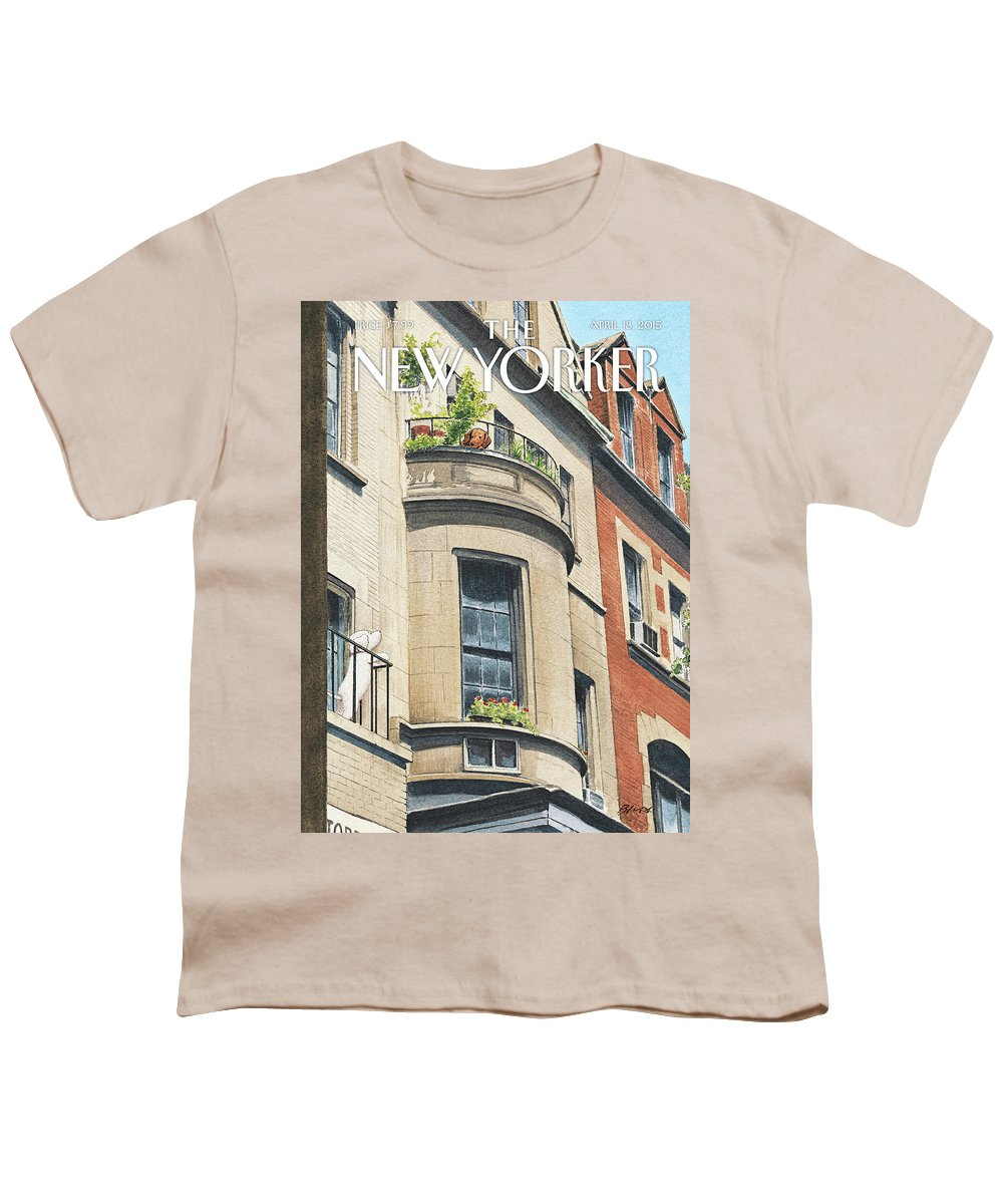 Dog Youth T-Shirt featuring the painting Balcony Scene by Harry Bliss