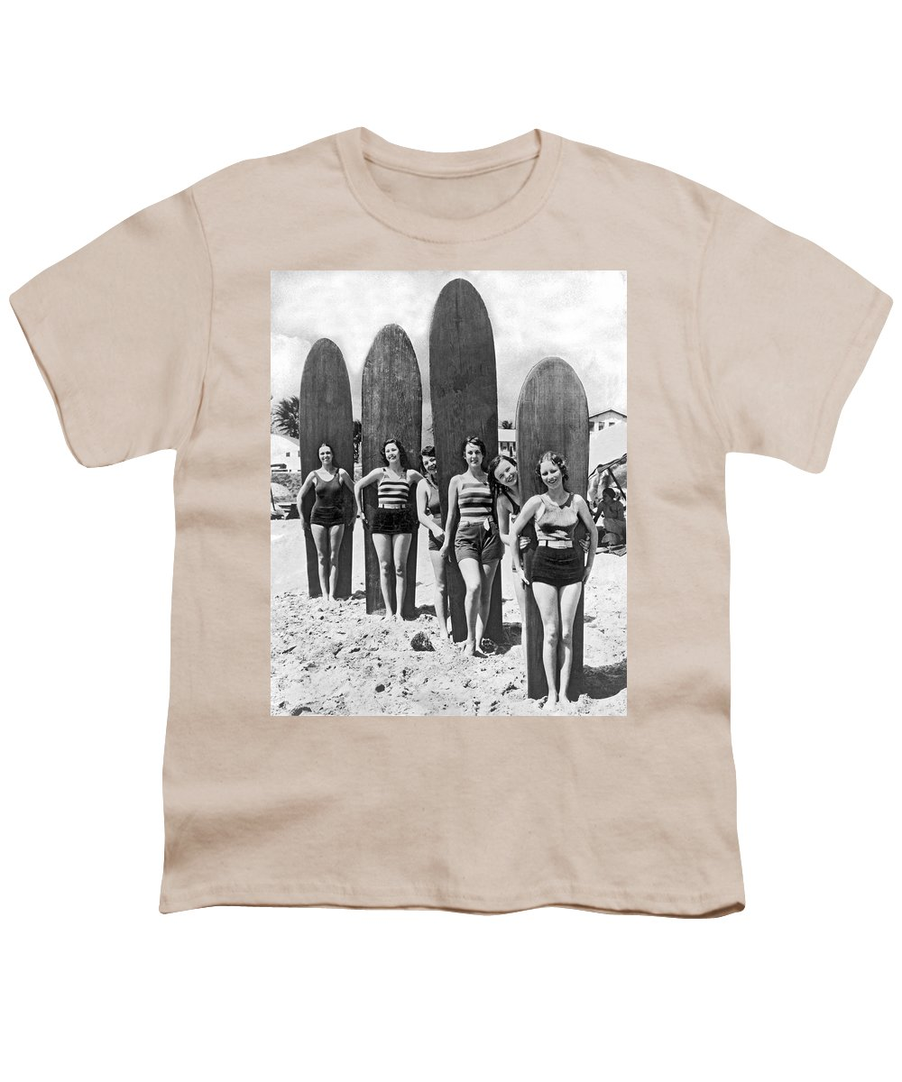 1035-515 Youth T-Shirt featuring the photograph California Surfer Girls by Underwood Archives