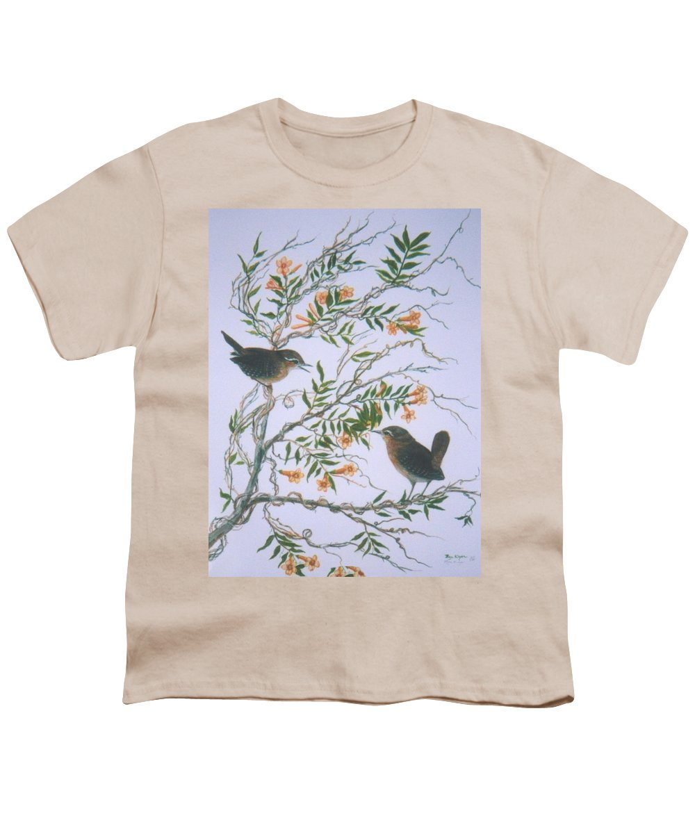Bird; Flowers Youth T-Shirt featuring the painting Carolina Wren And Jasmine by Ben Kiger