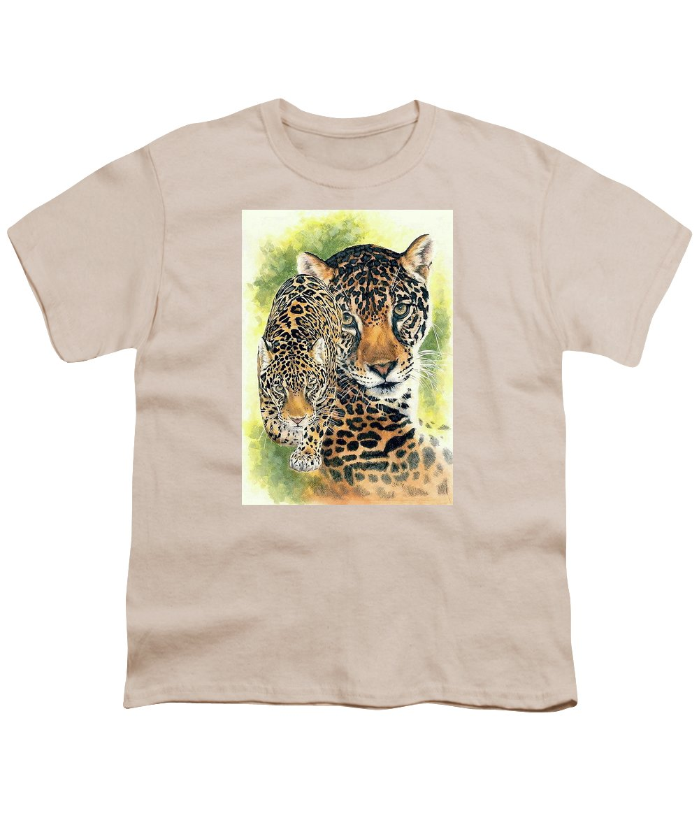 Jaguar Youth T-Shirt featuring the mixed media Compelling by Barbara Keith