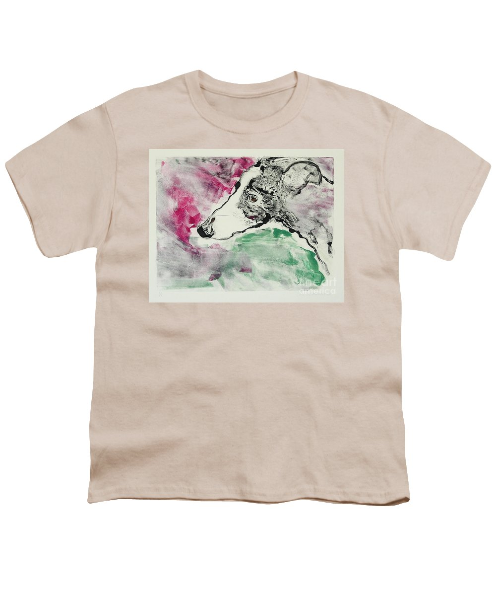 Greyhound Youth T-Shirt featuring the painting Cyrus by Cori Solomon