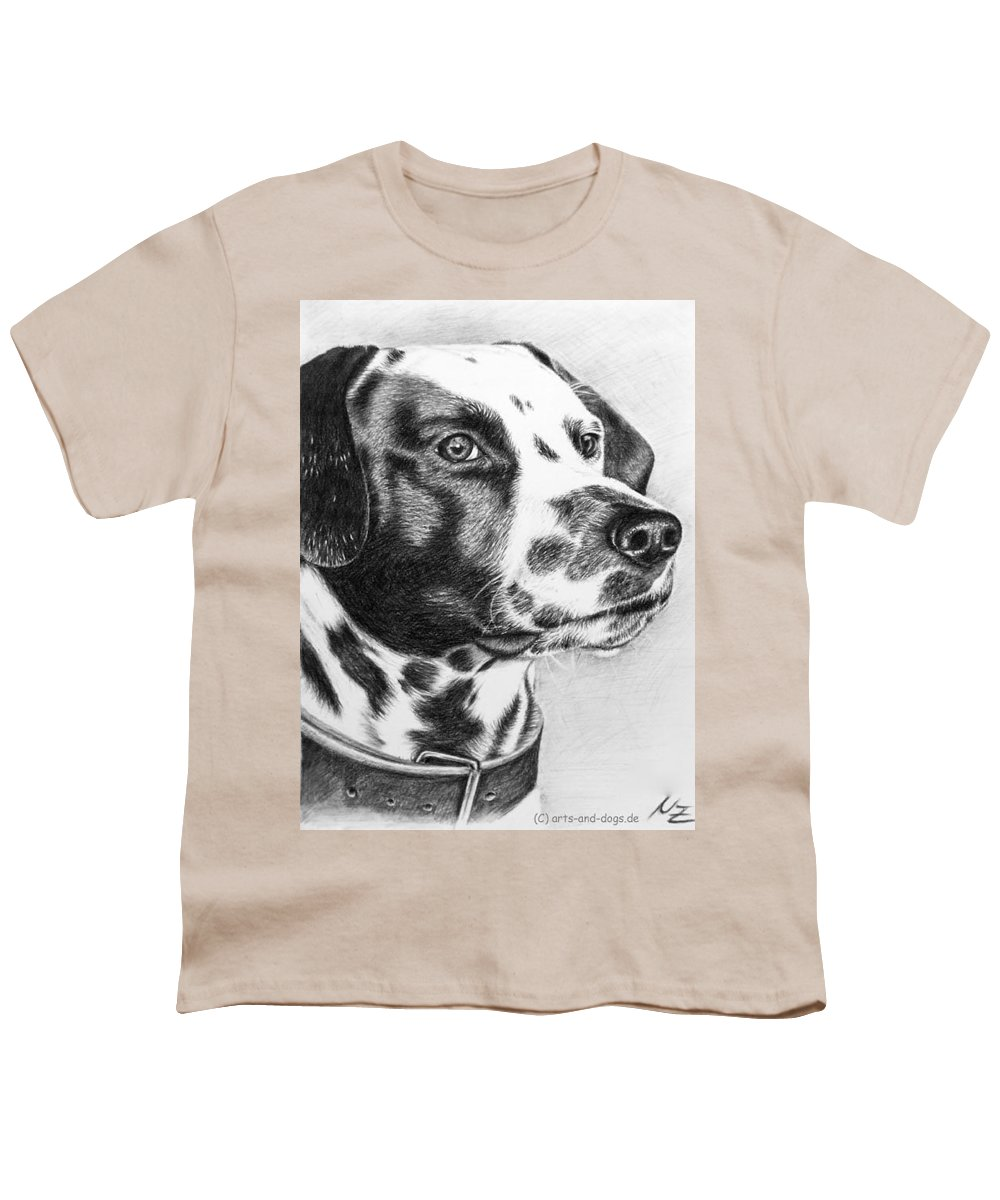 Dog Youth T-Shirt featuring the drawing Dalmatian Portrait by Nicole Zeug