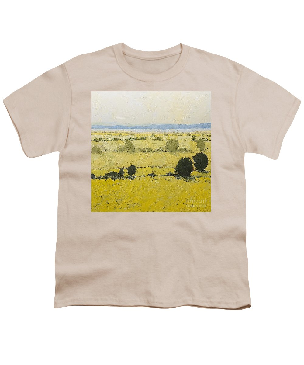 Landscape Youth T-Shirt featuring the painting Dry Grass by Allan P Friedlander
