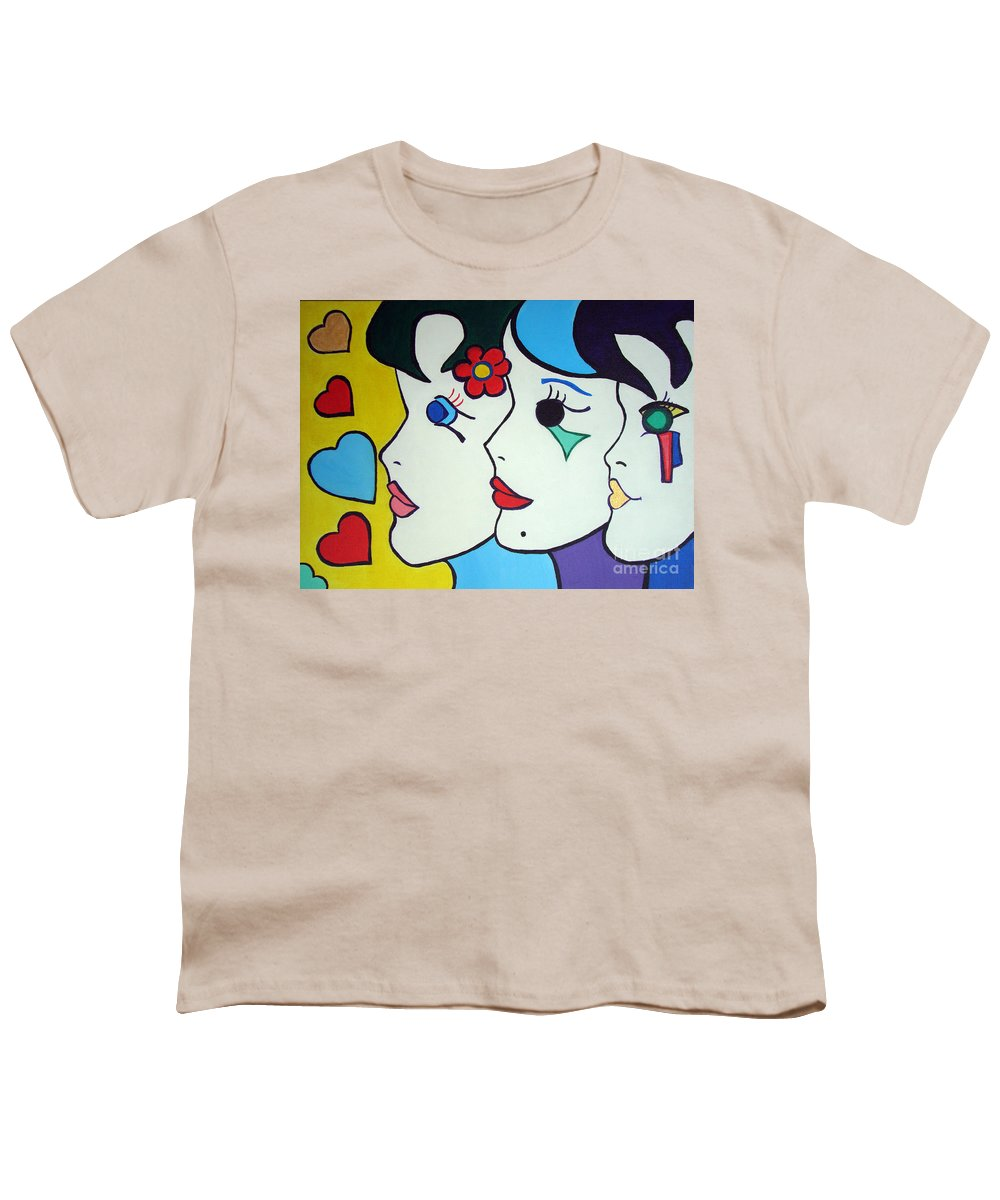 Pop-art Youth T-Shirt featuring the painting Falling In Love by Silvana Abel