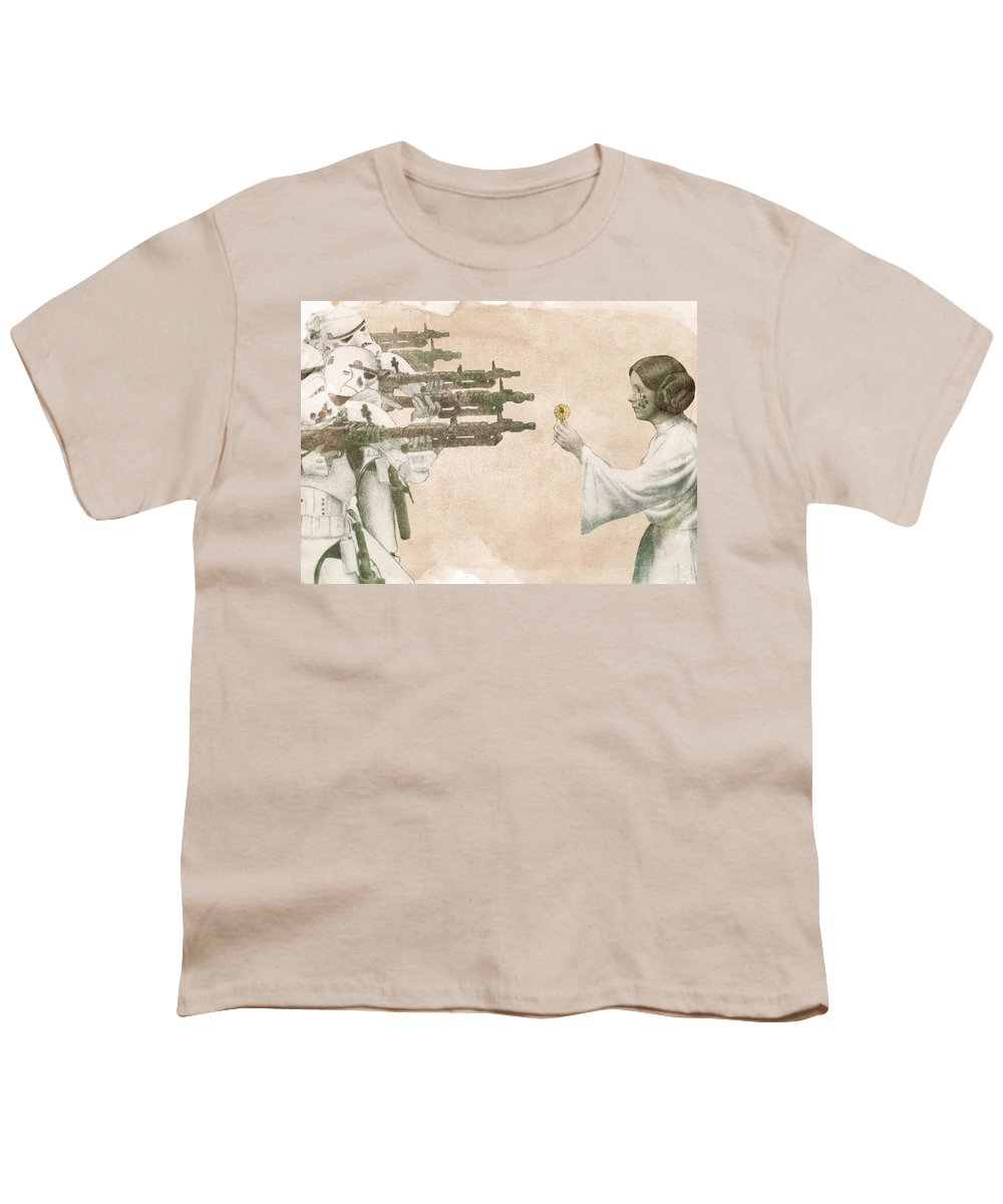 Peace Youth T-Shirt featuring the drawing Flowers For Alderaan by Eric Fan