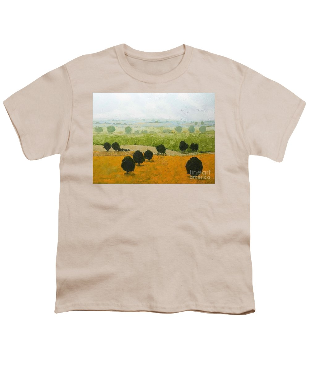 Landscape Youth T-Shirt featuring the painting Fog Lifting Fast by Allan P Friedlander