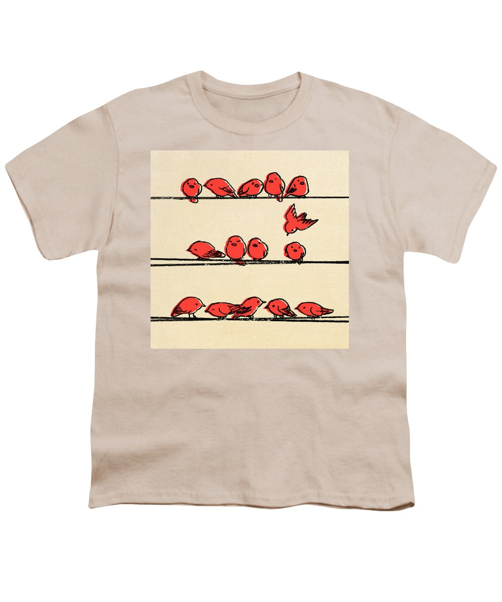 Birds Youth T-Shirt featuring the drawing Hanging Out by Eric Fan