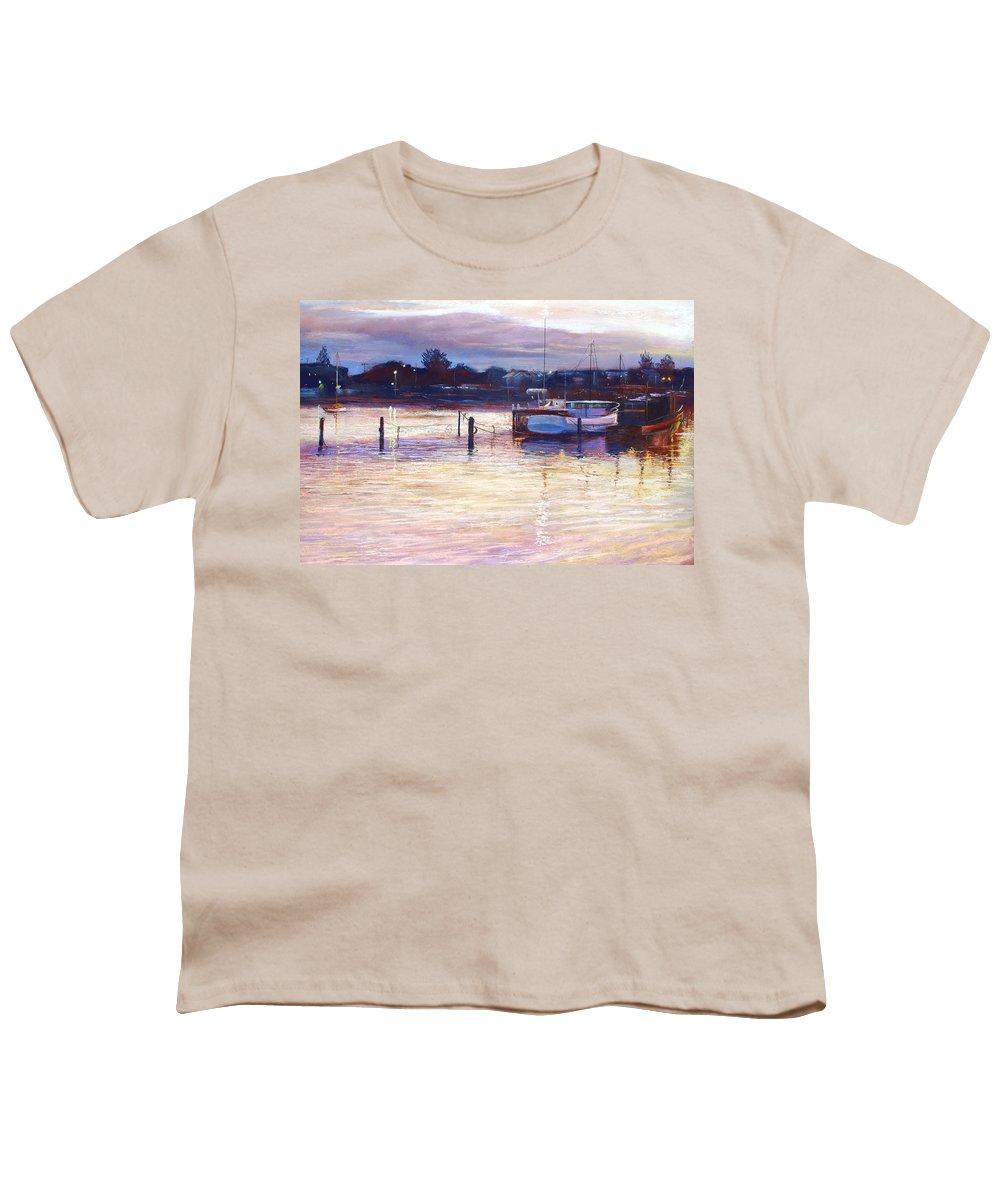 Lynda Robinson Youth T-Shirt featuring the pastel Harbour Lights - Apollo Bay by Lynda Robinson