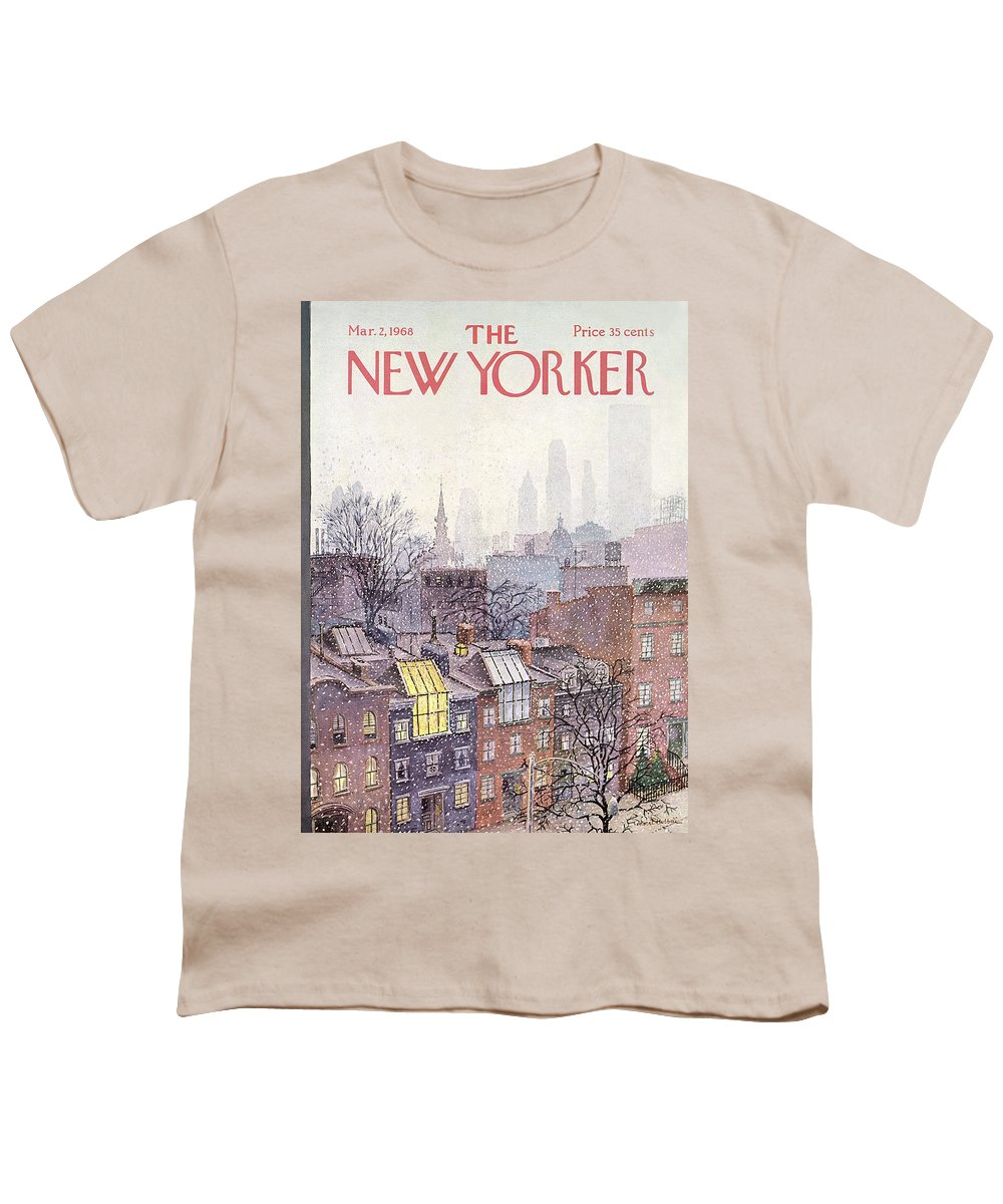 Albert Hubbell Ahu Youth T-Shirt featuring the painting New Yorker March 2, 1968 by Albert Hubbell