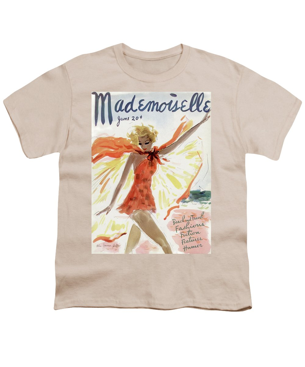 Illustration Youth T-Shirt featuring the painting Mademoiselle Cover Featuring A Model At The Beach by Helen Jameson Hall