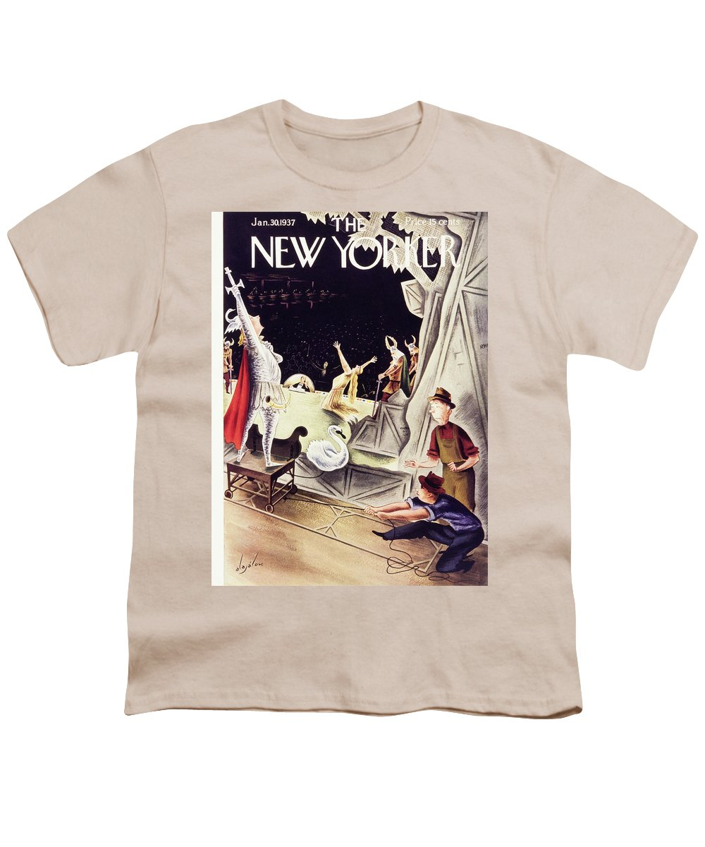 Theater Youth T-Shirt featuring the painting New Yorker January 30 1937 by Constantin Alajalov