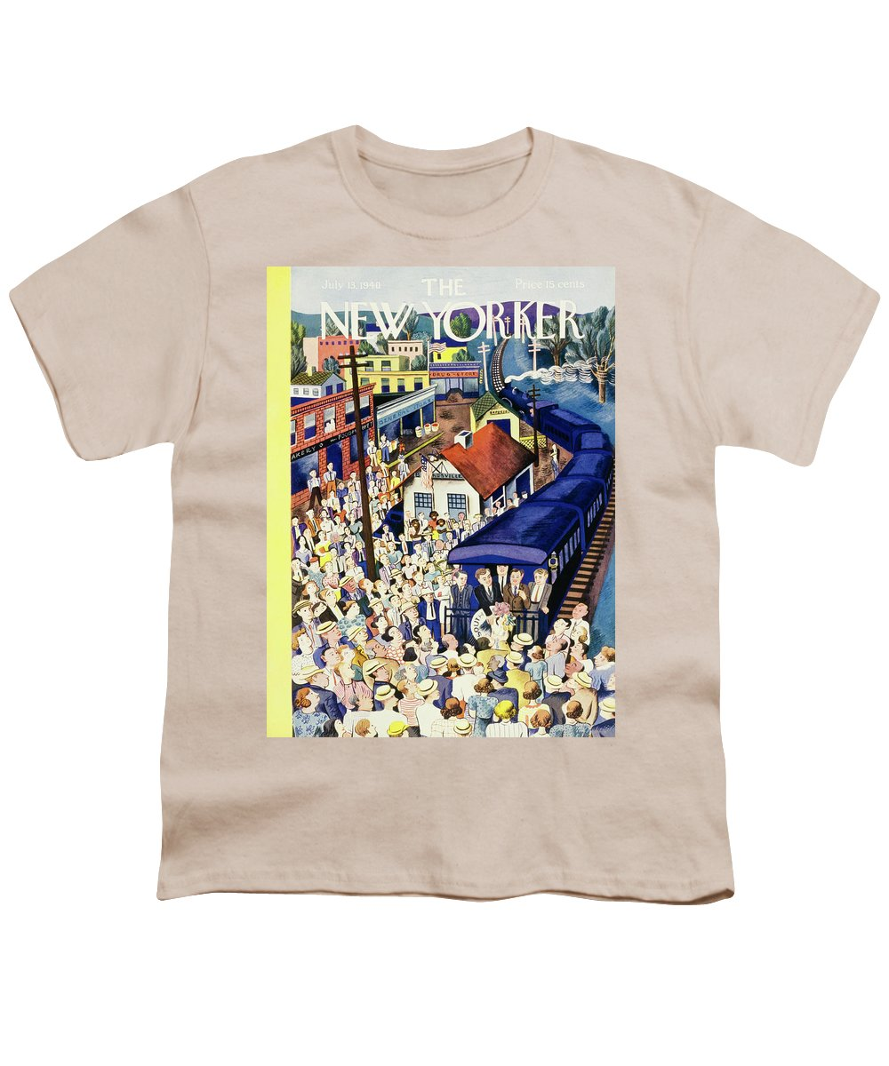 Outdoors Youth T-Shirt featuring the painting New Yorker July 13 1940 by Ilonka Karasz